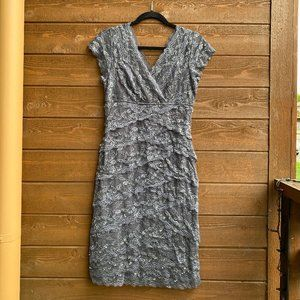 Marina Nordstrom Silver Sequin Beaded Lace Dress